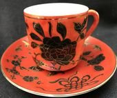 Beautiful Oriental espresso can & saucer